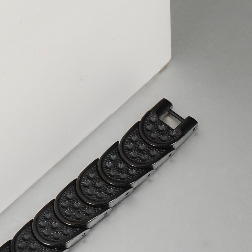 Wollet Mens Black 19cm Healing Energy Infrared Tourmaline Germanium Bio Magnetic Pure Titanium Bracelet Bangle For Men