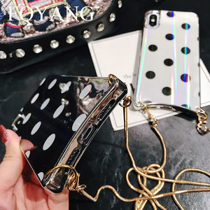Image 5 - FQYANG Vintage Dot Case for IPHONE XS MAX XR Aurora Glass Case for Iphone 6s 7 8 Metal Lanyard Case for Iphone 7P 8P Back Cover