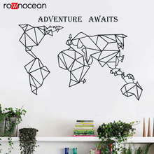 World Map Wall Decal Abstract Art Geometric Compass Vinyl Sticker Home Decor Living Room Office Adventure Awaits Mural 3217