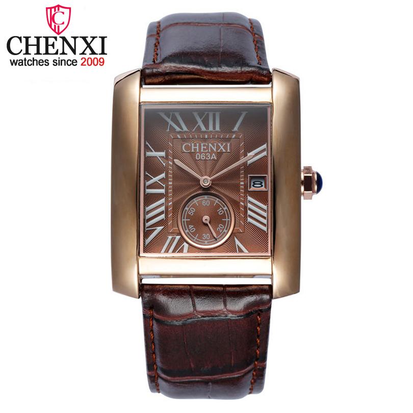 Luxury CHENXI Brand Classic Design Rectangular Male Watches Casual Fashion Leather Watch Man Calendar Quartz Men Gold Wristwatch vintage printing long sleeves shirt