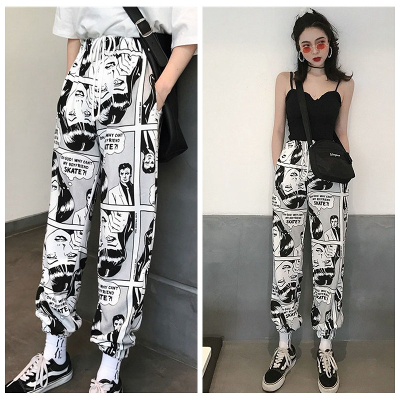 HTB1BPdybBCw3KVjSZFuq6AAOpXap - Stylish Cartoon Print Drawstring Pants Elastic Waist Hip Hop Long Pants Women Harajuku High Waist Casual Trousers