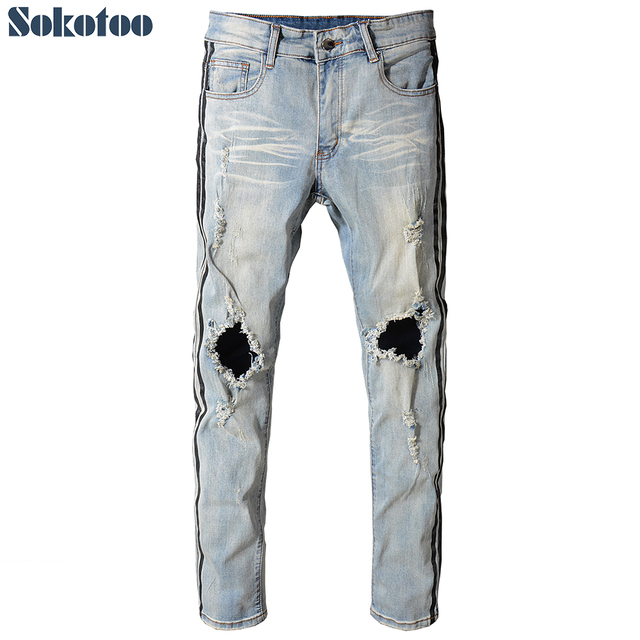 Sokotoo Men's black stripe printed ripped jeans Vintage blue slim fit distressed stretch denim pants