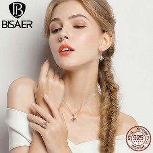 Image 4 - BISAER 925 argent Sterling mignon Orange abeille animaux pendentifs colliers et boucles doreilles et bague mode Zircon Dubai bijoux ensembles