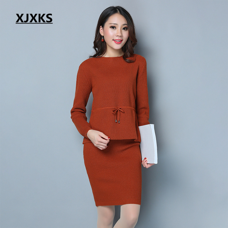 XJXKS Women Two Pieces Sweaters Set High Quality Auutmn And Winter 2017 Ladies Clothing Sashes Sets Free Shipping