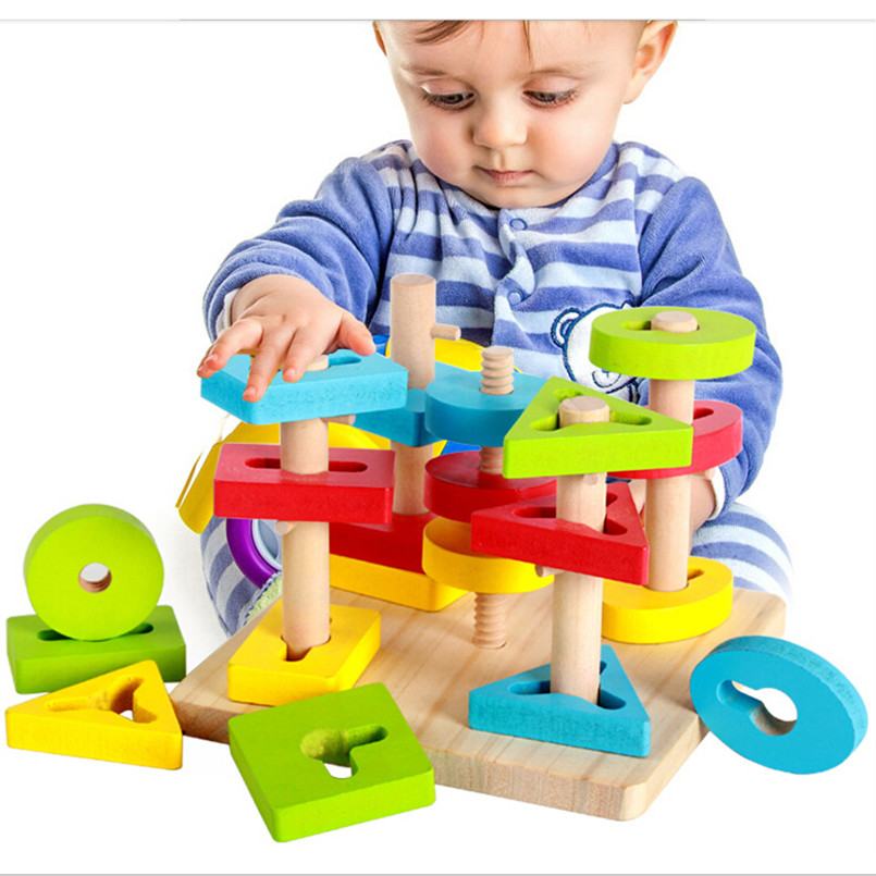 Geometry Shape Wooden Toys for Baby Kids, Funny Montessori ...
