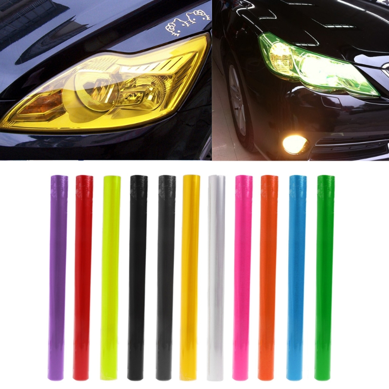 30cm x 100cm Car Headlight Tail Fog Light Tint Film Overlay Adhesive Sheet light tint