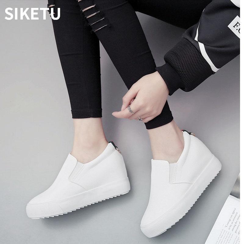 2018 Women Sneakers Fashion Platform Casual Shoes PU Low Top Slip on Increasing Ladies White Black shoes zapatos mujer