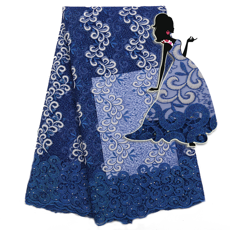 African Lace Fabric Beat Selling, French Tulle Lace Fabric,Nigerian Embroidered Net Lace With Sequins, Free Shipping Ks2286B