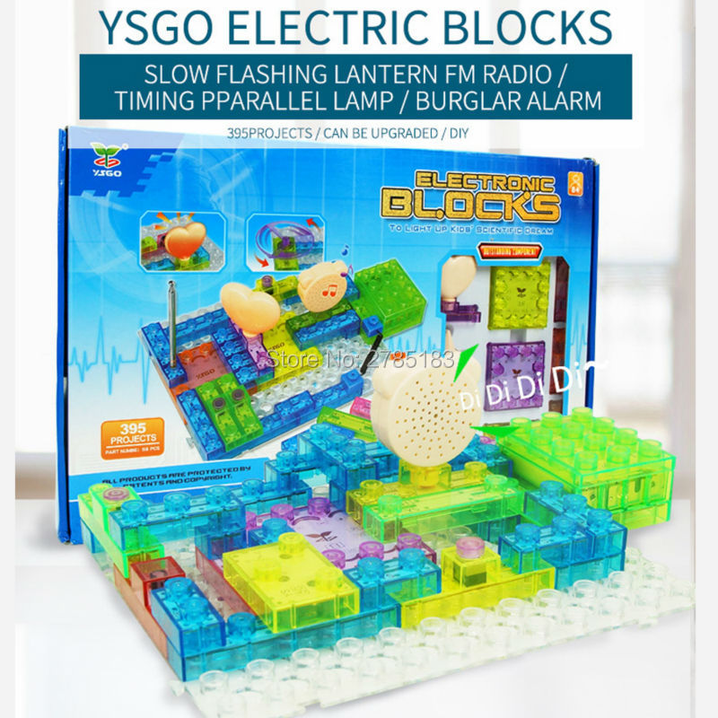 395 Projects Integrated Building Block Circuit Kit With Lighted Bricks 59PCS Electronic Component Educational & Learning Blocks telecool circuits smart electronic block w 58 kit integrated circuit building blocks educational science innovation learning toy