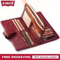 KAVIS Genuine Leather Women Wallet Purse Coin Female Portomonee Walet Lady Long Handy Money Card Holder