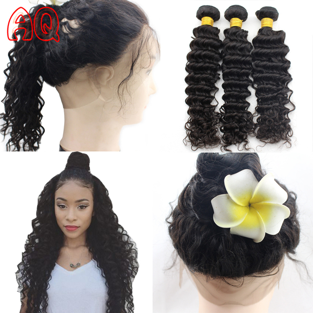 Peruvian Deep Wave Weave Bundles With 360 Lace Frontal Closure 360
