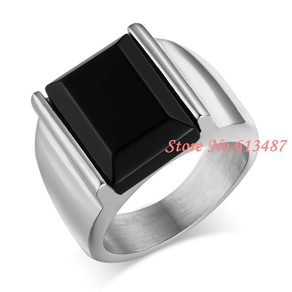 new styles f209f a59f2 Nuevo encanto mujeres hombres anillo negro grande 316L Acero inoxidable  tamaño del anillo de plata 7-12 elegir libre