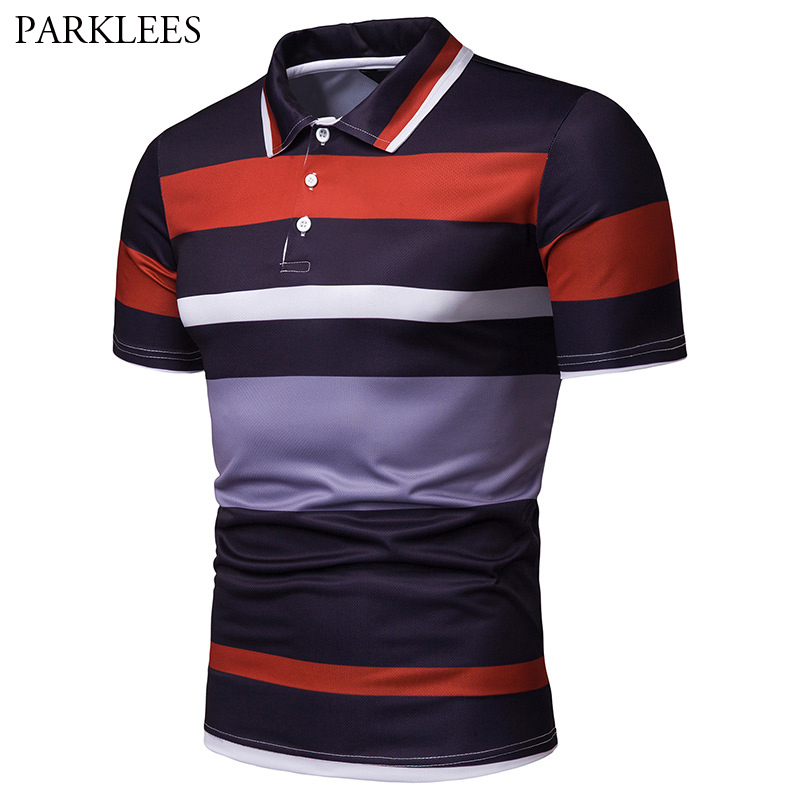 Summer Breathable Short Sleeve   Polo   Shirt Men 2019 Fashion Striped   Polo   Homme Slim Fit Business Casual Camisa   Polo   Masculina 2XL