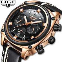 NEW LIGE Men Watches Fashion Chronograph Male Top Brand Luxury Quartz Watch Men Leather Waterproof Sport Watch Relogio Masculino pacific angel shark sport watch luxury calendar quartz men male watches fashion red black leather band relogio masculino sh094