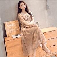 2018 Spring Summer Women Long dress Embroidery Thailand JiXian Baliach Holiday Dresses Khaki Apricot L0831