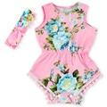 2016 New Summer Baby Girls Dress + Headwear Flower Pattern Cotton Triangle Romper Dress Girls Dresses Baby Party Wedding Dresses
