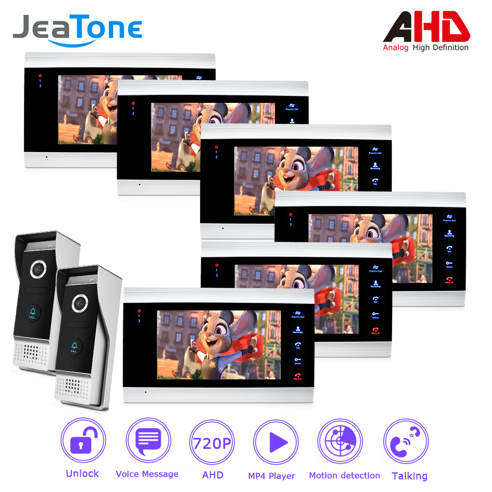 720P/AHD 4 Wired 7'' Video Door Phone Intercom Door Bell Security System Voice message/Motion Detection/MP4 Player 6 Monitors цена