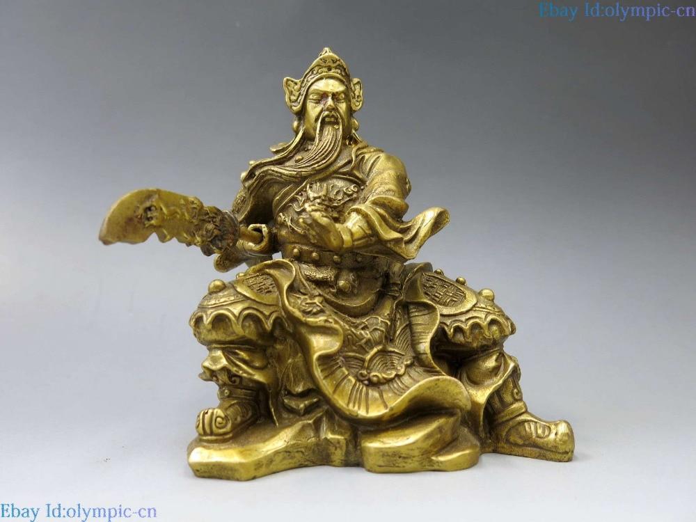 Cina ottone scultura intagliata drago di rame dio Marziale della ricchezza Guan Yu StatuaCina ottone scultura intagliata drago di rame dio Marziale della ricchezza Guan Yu Statua