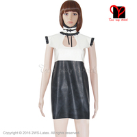 White and Black Bows Holes Front Ruffles Sleeveless Latex Maid Sexy Latex Dress Rubber Baby Doll Playsuit Bodycon plus QZ 031