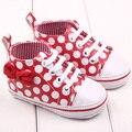 Moda chic chica slip-en la zapatilla de deporte del niño del cabrito cómodo polka dots pu de cuero zapatos de bebé 0-12 m