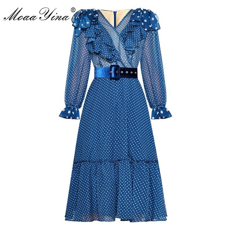 MoaaYina Fashion Designer Runway dress Spring Summer Women Dress Long sleeve V neck Ruffles Wave point