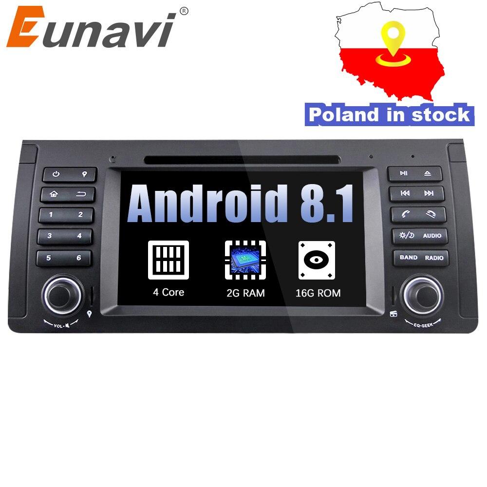 Eunavi Quad Core 1 din Android 8.1 Car DVD player GPS Radio di Navigazione per Auto Stereo Per BMW E53 E39 X5 supporto TV 4G WiFi OBD DVR