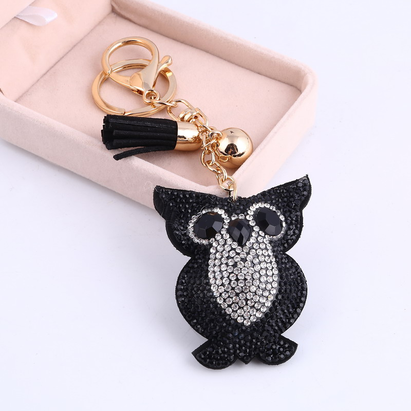 ZOSHI Cute Owl Pendant Leather Tassel Key Gold Chain Car Key Ring Holder Bag Car Keychain Rhinestone Crystal Key Chains