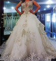 Vintage Cathedral Train Crystal Wedding Dresses Ball Gown vestido de noiva princesa com manga Wedding Gowns 2016 alibaba china