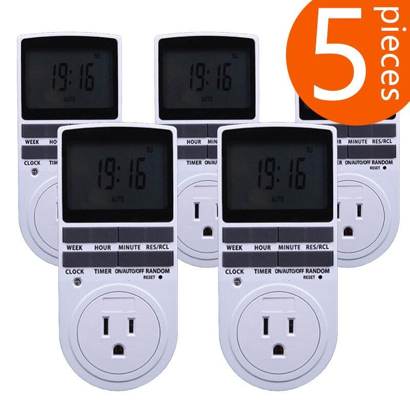 5Pcs American standard 2018 new hot-selling intelligent time power socket timer switch Big screen digital display