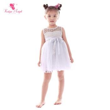 Kaiya Angel Toddler Girl Wedding Dress Kids Party Summer Dresses Children Princess White Bowknot Belt Teenage Girls Clothing