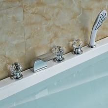 Оптом И В Розницу Продвижение Роскошные Стеклянные Ручки Chrome Латуни Водопад Ванная Комната Ванна Кран Ручной Душ Кран
