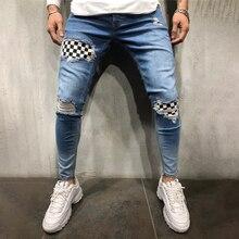 Летние мужские хип-хоп брюки высокого качества новые мужские значки Slim джинсы прилив 2019 новые