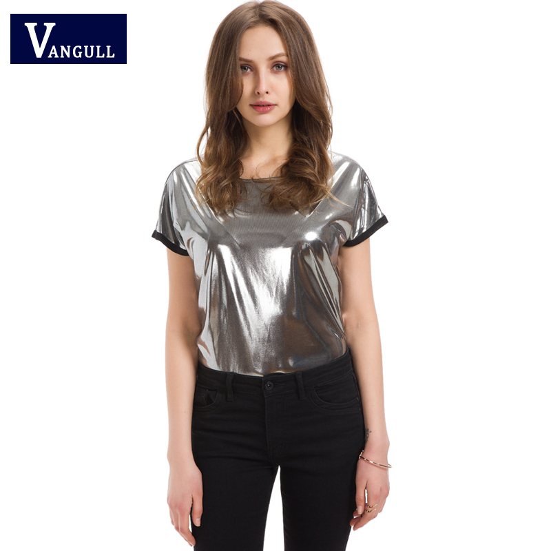 2018 new Spring&summer cool lady woman Silver technology Glossy style fashion casual Tops & Tees short sleeve T-shirt for woman
