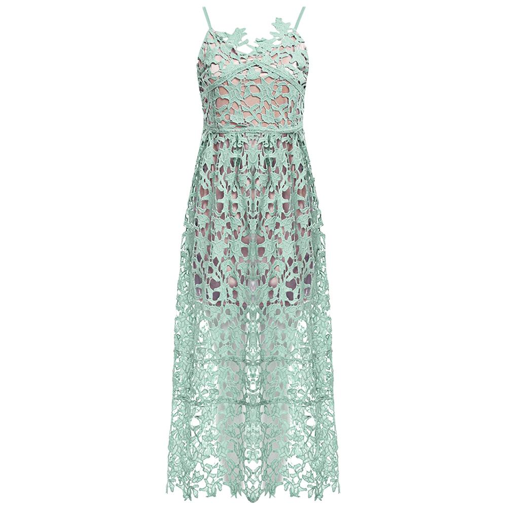 VESTLINDA Spaghetti Strap Backless Hollow Out Crochet Lace Dress Women Vestidos Mujer Robe Femme 2017 Summer Sexy Maxi Dress 22