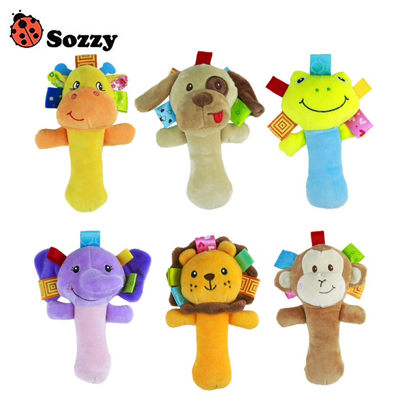 1pc Soft Baby Toy Cartoon Animal Model Ringbell Rattle Squeaker Rod Baby Rattle Cute Musical Gift