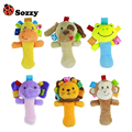 Sozzy 1pc Soft Baby Cute Animal Toy Gentle Rattle Squeaker Crinkle Sound Plush Rod Lion Monkey Elephant Frog Dog Giraffe Toy