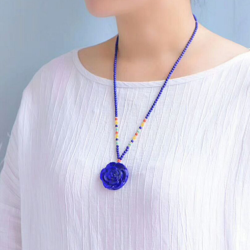 Fine Blue Ore Natural Stone Pendants Flower Pendant Beads Sweater Chain Necklace Lucky for Women Fashion Necklace Jewelry retro style flower pendants necklace for women