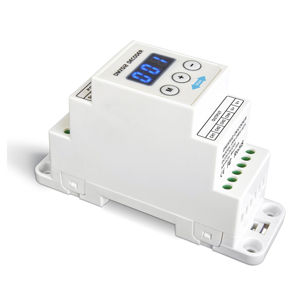 LTECH DIN-DMX-350-4CH;DIN Rail CC 4CH Constant Current DMX Decoder;DC12-48V input;350mA*4CH output 4 Channel LED DMX512 Decoder new ltech led dmx decoder 4ch cc rgb strip dmx decoder dc12 48v in 700ma 4ch output dc12 46v output 4 channel dmx pwm decoder