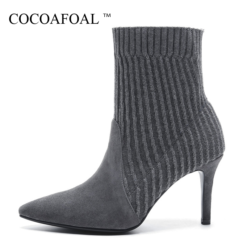 COCOAFOAL Woman Sock Boots Black Gray Autumn Winter Fetish High Heels Boots Fashion Pointed Toe Genuine Leather Chelsea Boots