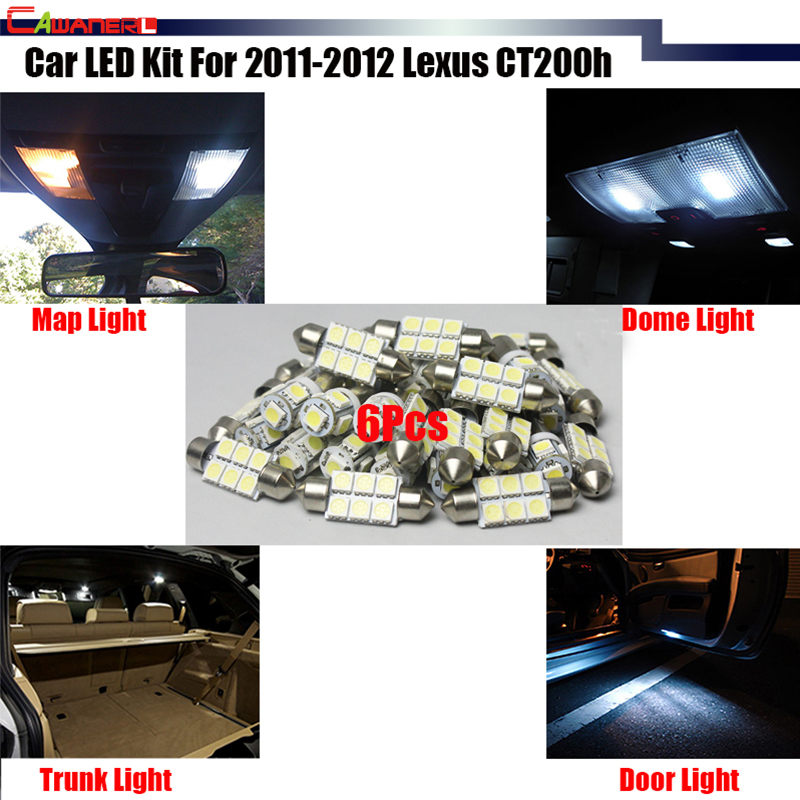 Cawanerl Car Interior Dome Map Trunk Side Door Lights LED Package KIT White Easy Install For 2011-2012 Lexus CT200h
