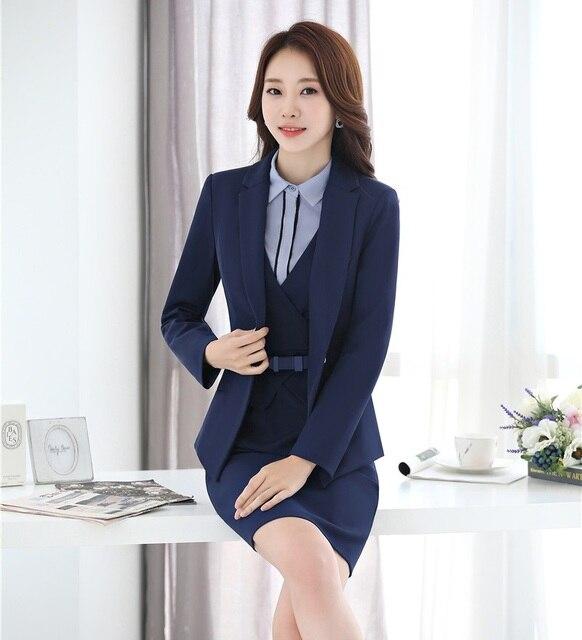 Formal Trajes de vestir para las mujeres de negocios Trajes blazer y  chaqueta Sets señoras Oficina d08b713709ed