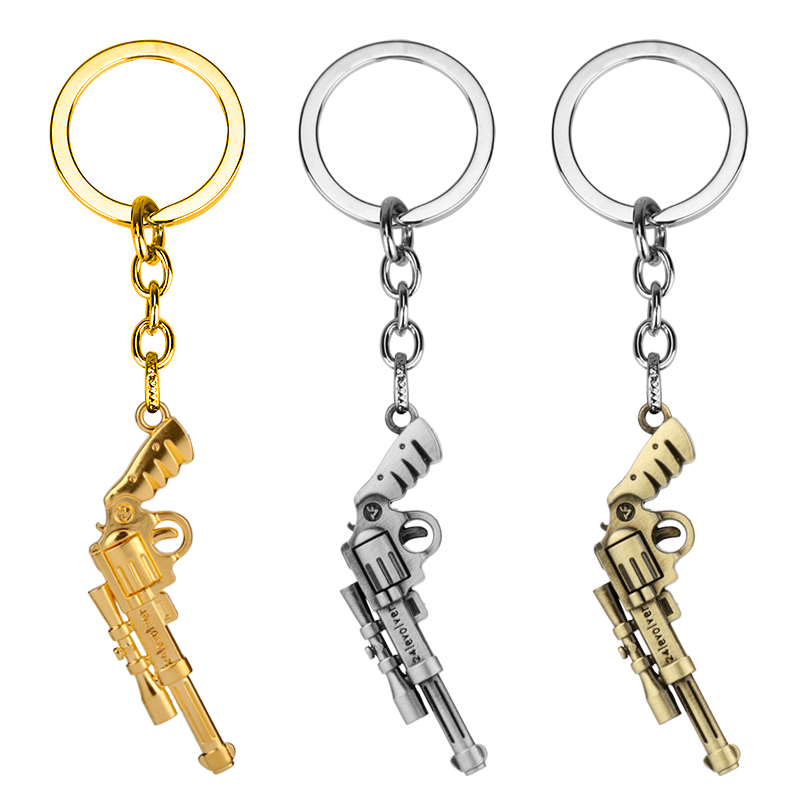 dongsheng Trendy Gun Keychain Game imitated Revolver Gun Key Chains 3D Weapon Arms Metal Key Chain Jewelry Unisex Drop Shipping