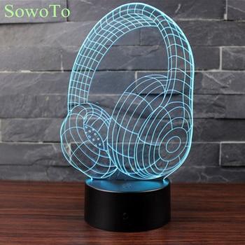 Newest 3D Acrylic 7 Color Earphone 3D Illusion Luminaria USB RGB Night Light Desk Lamp Home Decor Holiday Gift Headphone