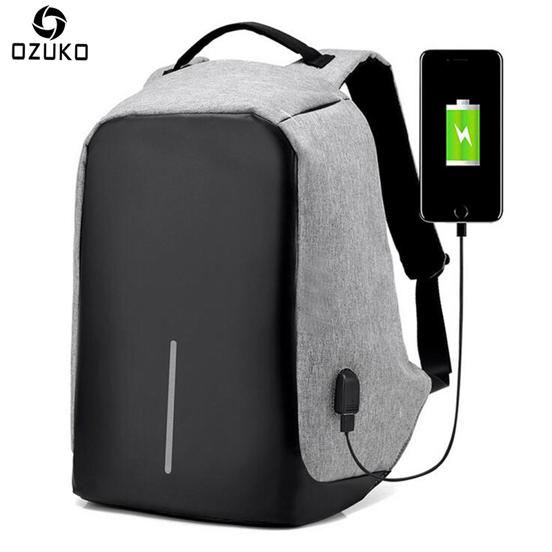 OZUKO 2018 Fashion Anti-theft USB charging Men Laptop Backpack Women Mochila Multifunctional Casual Travel School Backpacks Bags все цены
