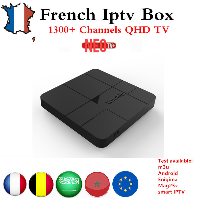 French IPTV box Wechip V8 Android 7.1 android TV Box with 1 Year NEO TV+ Arabic France Belgium VOD  Set Top Box  4K Media Player