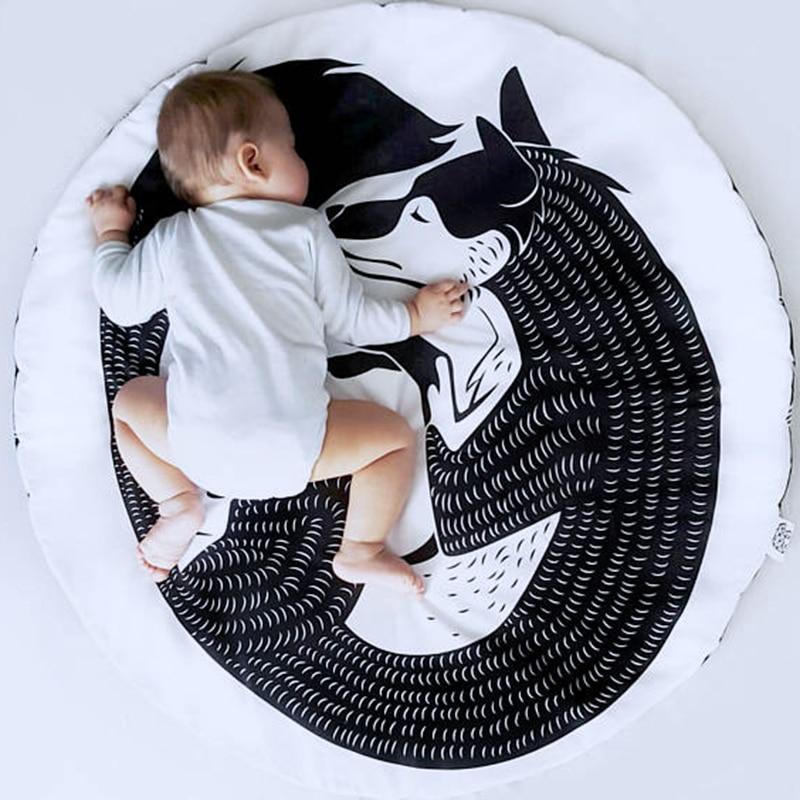 90CM Newborn Play Mats Baby Sleep Crawling Blanket Fox Wolf Children Floor Padded Round Carpet Room Climb Play Game Rug Mat D30