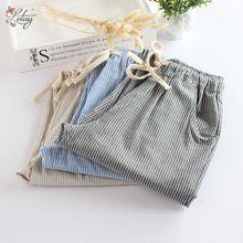 2017 Autumn New Plus Size Korean Style Women Loose Cotton and Linen Striped Herem Pants Casual Pants Women Trousers 8017#