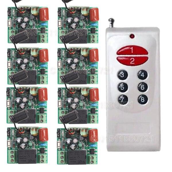 цена на AC 220V 8CH RF Wireless Switch Remote Control Switch 315MHZ/433Mhz Transmitter With 8 X Receiver