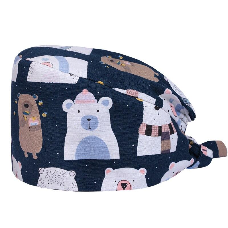 Cute Bear Print Medical Cap Nursing Scrub Hat Hospital Surgeon Work Hats Dental Clinic Caps 100% Cotton Tieback Ground Hats