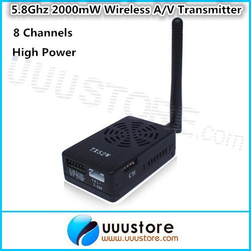 FPV TX52W 5.8Ghz 2000mW 8 Channels High Power wireless A/V Transmitter SMA PLUG Jack fpv tx52w 5 8ghz 2000mw 8 channels high power wireless a v transmitter sma plug jack